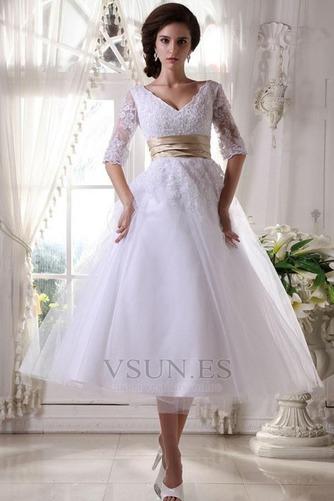 Vestido de novia Fuera de casa La mitad de manga Cremallera tul Natural - Página 3