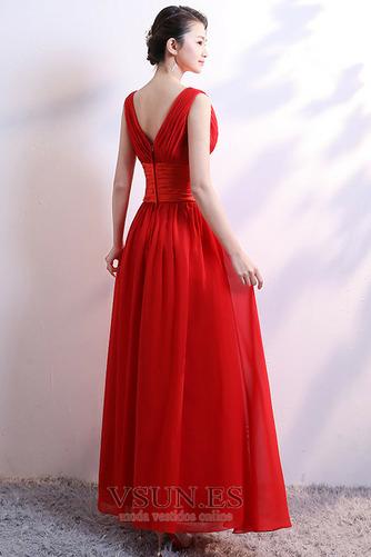 Vestido de dama de honor Falta Lazos Corte-A Natural Sin mangas Baja escote en V - Página 2