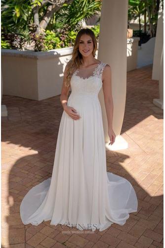 Vestido de novia Elegante Barco Cola Capilla Sin mangas primavera Gasa - Página 1