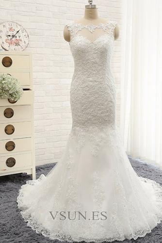 Vestido de novia Capa de encaje Cremallera Barco Botón largo vendimia - Página 1
