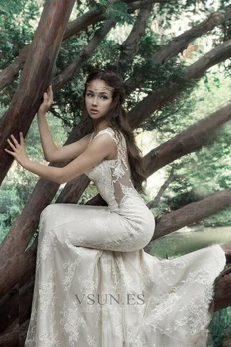 Vestido de novia Tallas pequeñas Pura espalda Sin mangas Natural Verano - Página 4