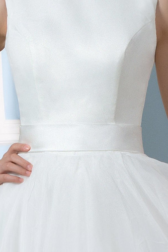 Vestido de novia Falta Hasta la Rodilla Moderno Natural Lazos Corte-A - Página 4