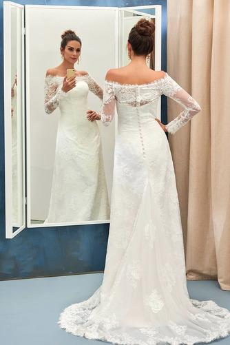 Vestido de novia vendimia Encaje Playa Alto cubierto Manga larga Natural - Página 6