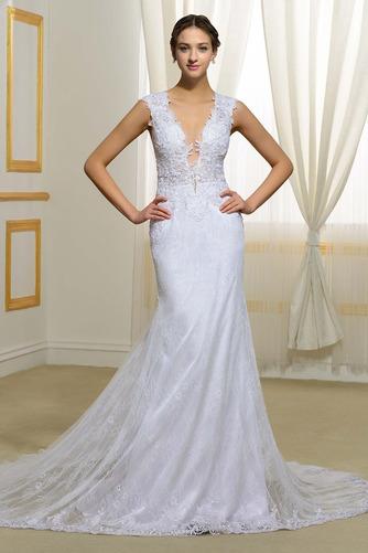 Vestido de novia Natural Elegante Corte Sirena Escote en V Drapeado - Página 1