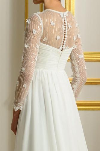 Vestido de novia Elegante Corte-A Natural largo Otoño Corpiño Acentuado con Perla - Página 5