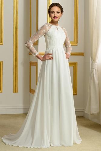 Vestido de novia Elegante Corte-A Natural largo Otoño Corpiño Acentuado con Perla - Página 2
