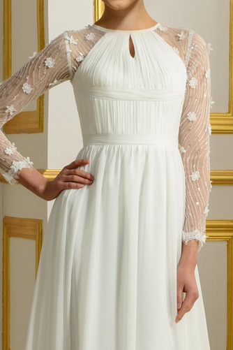 Vestido de novia Elegante Corte-A Natural largo Otoño Corpiño Acentuado con Perla - Página 4
