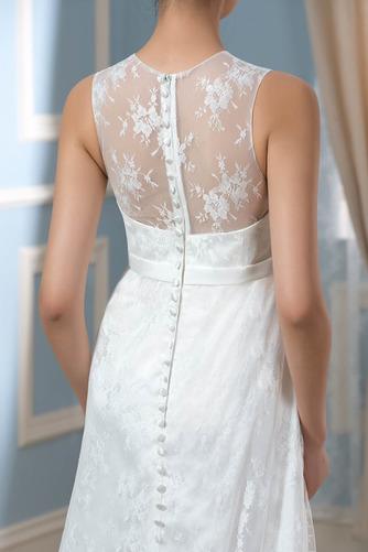 Vestido de novia Drapeado Pura espalda Joya Encaje Capa de encaje Sin mangas - Página 5