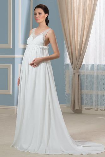 Vestido de novia Imperio primavera Escote en V Gasa Espalda Descubierta - Página 3