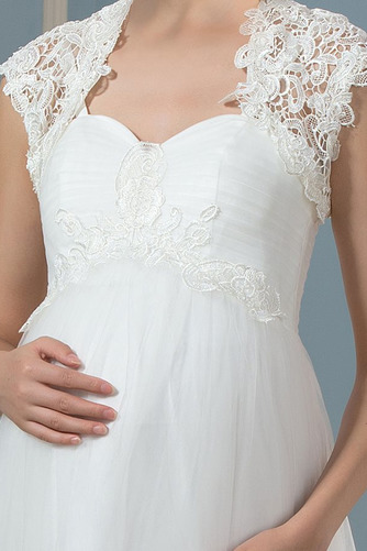 Vestido de novia Verano Hasta el suelo Manga corta tul Fuera de casa - Página 5
