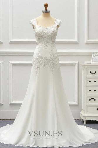 Vestido de novia Gasa Cordón Capa de encaje Natural Escote Cuadrado - Página 1