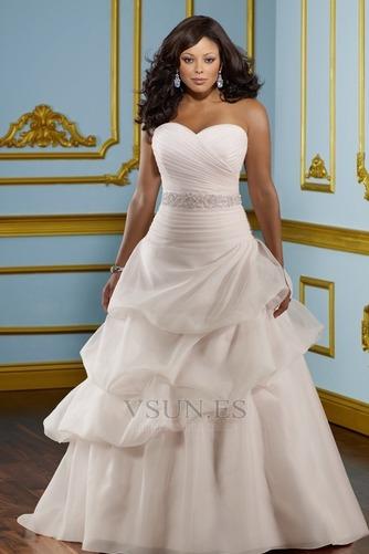 Vestido de novia Sin tirantes Hasta el suelo Blusa plisada Corte princesa - Página 1