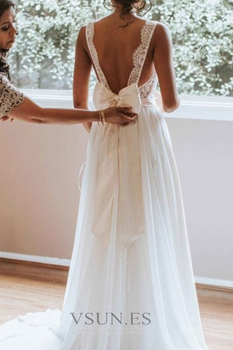 Vestido de novia Gasa Capa de encaje Arco Acentuado Espalda Descubierta - Página 4