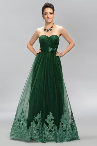 Vestido de fiesta Elegante Cola Barriba Corte-A Encaje Natural Bordado - Página 1
