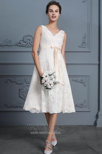 Vestido de novia Playa Natural Falta Escote en V Arco Acentuado Cremallera - Página 4