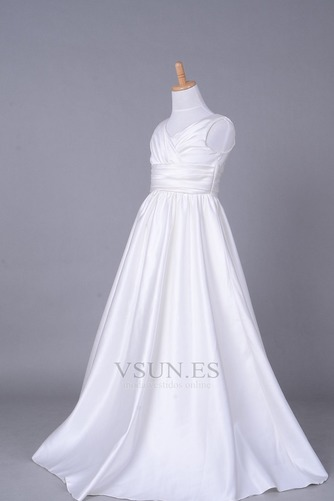 Vestido niña ceremonia Cola Capilla Blanco Invierno Sala Cremallera Blusa plisada - Página 2