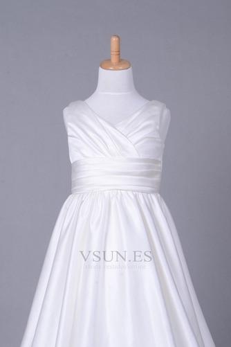 Vestido niña ceremonia Cola Capilla Blanco Invierno Sala Cremallera Blusa plisada - Página 4