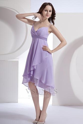 Vestido de dama de honor primavera Pera Escote de Tirantes Espaguetis Gasa Fajas - Página 3