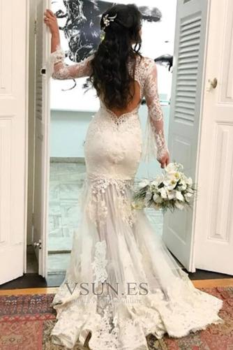 Vestido de novia largo Capa de encaje Corte Sirena Espalda con ojo de cerradura - Página 2