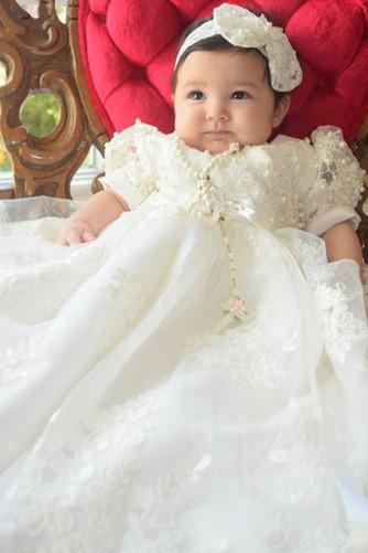 Vestido de Bautizo Flores largo Imperio Cintura Falta Encaje Formal - Página 2