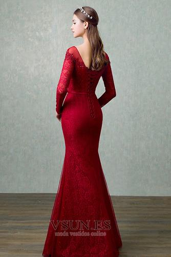 Vestido de noche Elegante Corte Recto Hasta el suelo Capa de encaje - Página 2