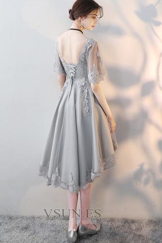 Vestido de cóctel Encaje Espalda Descubierta Verano Escote en V Apliques - Página 2