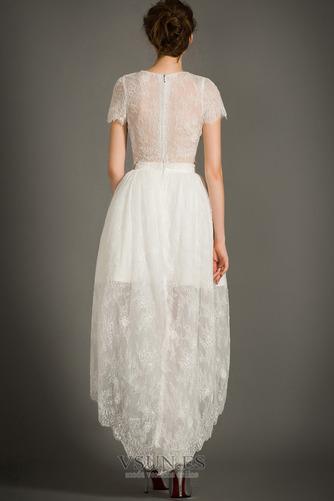 Vestido de novia Cremallera Moderno Asimétrico Dobladillo Camiseta Manga corta - Página 7