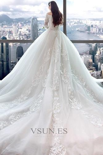 Vestido de novia Elegante Escote con Hombros caídos Capa de encaje Camiseta - Página 4
