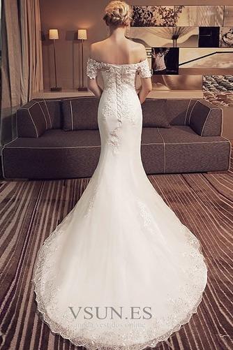 Vestido de novia Corte Sirena Encaje Iglesia Verano Escote con Hombros caídos - Página 2
