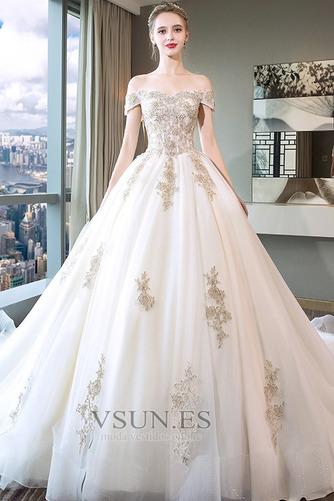 Vestido de novia Escote con Hombros caídos Falta Bordado Manga tapada - Página 1