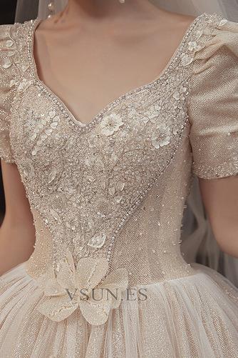 Vestido de novia Corpiño Acentuado con Perla Cordón Abalorio Camiseta - Página 5
