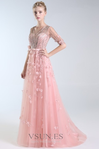 Vestido de fiesta Escote en V Elegante Corpiño Acentuado con Perla Natural - Página 3