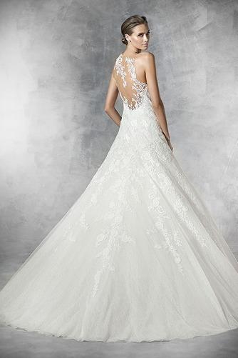 Vestido de novia Pura espalda Cola Capilla Apliques Sala Natural Corte-A - Página 2