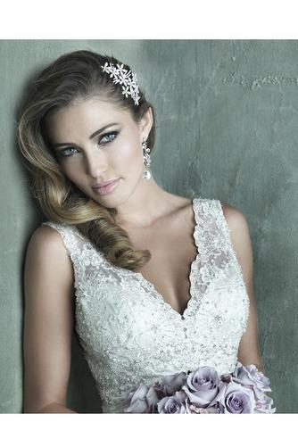 Vestido de novia Clasicos Abalorio Encaje Otoño Sin mangas Sala - Página 4