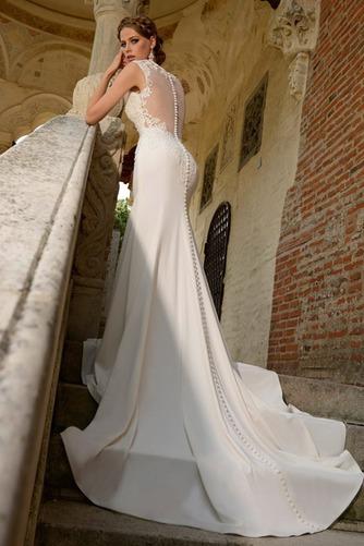 Vestido de novia Verano Satén Elástico Queen Anne Playa Apliques Cola Catedral - Página 3