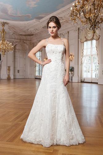 Vestido de novia Escote de Tirantes Espaguetis Abalorio Natural Elegante - Página 1