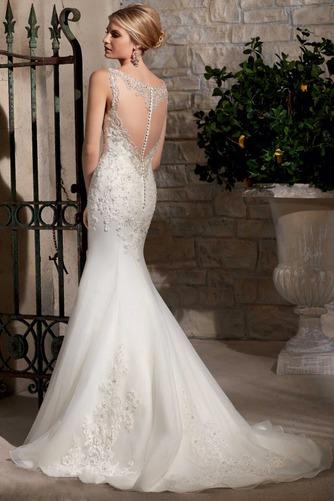 Vestido de novia Sala Otoño Corte Sirena Sin mangas Pura espalda Natural - Página 2