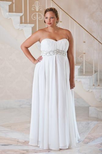 Vestido de novia Verano Plisado largo Cremallera Gasa Escote Corazón - Página 1