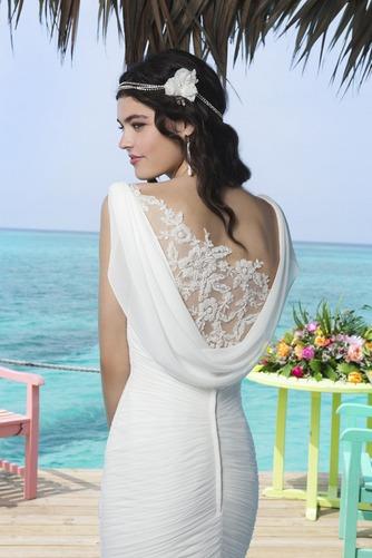 Vestido de novia Corte Sirena Volantes Adorno Gasa Sin mangas Natural - Página 4