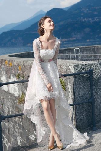 Vestido de novia Cordón Verano Alto Bajo Escote Cuadrado Manga larga - Página 2