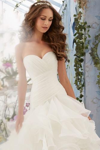 Vestido de novia Invierno Organza Natural Sala Volantes Adorno Glamouroso - Página 3