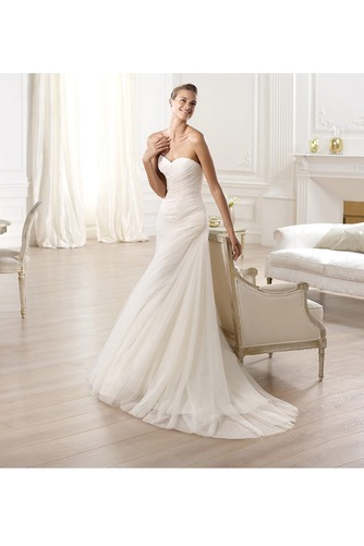 Vestido de novia tul Con velo largo Plisado Sala Natural - Página 3