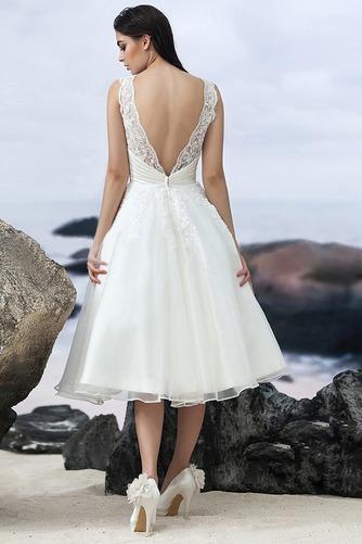 Vestido de novia Sin mangas Corte-A Natural Organza Volantes Adorno - Página 3