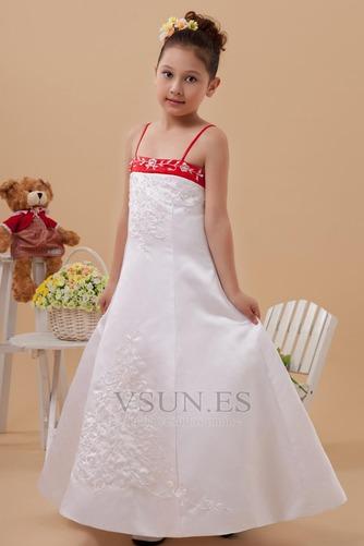 Vestido niña ceremonia Natural Marfil 14 Años de edad Sin mangas Corte-A Satén Elástico - Página 3