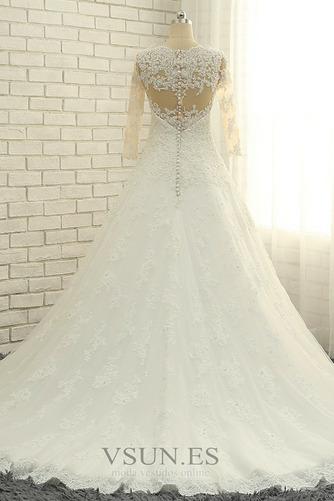 Vestido de novia Abalorio Corpiño Acentuado con Perla Pura espalda Natural - Página 2
