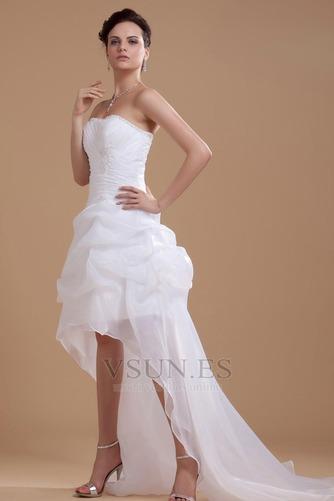 Vestido de novia informales Asimètrico Falta Blanco Espalda medio descubierto - Página 3