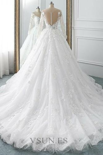 Vestido de novia Manga larga Corte-A Sala Pura espalda Cola Corte Otoño - Página 2