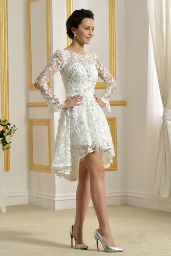 Vestido de novia Encaje Cremallera Natural Capa de encaje Barco Encaje - Página 4