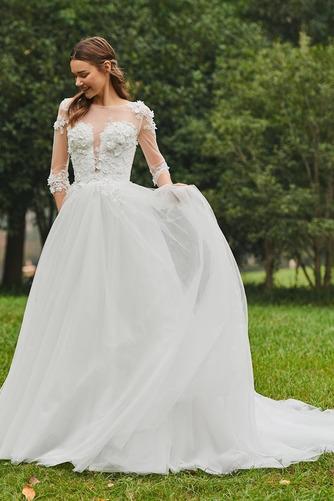 Vestido de novia Cola Barriba Barco tul Sin mangas Corte-A Pura espalda - Página 4