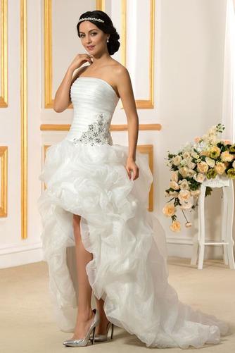 Vestido de novia Sin tirantes Triángulo Invertido Asimètrico Espalda Descubierta - Página 2